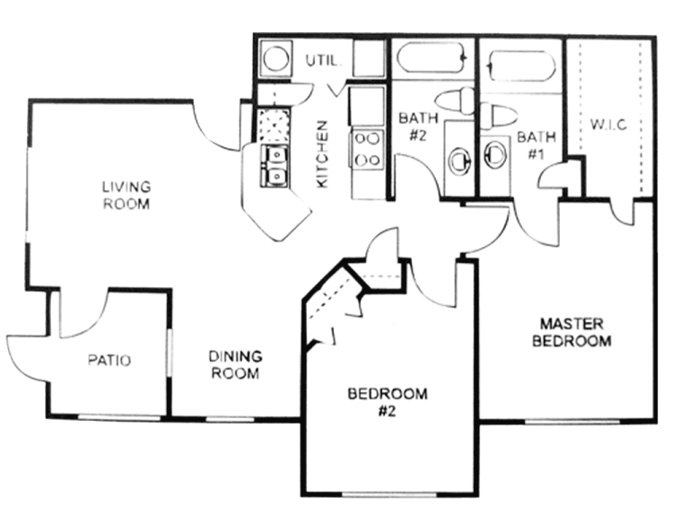 886 sq. ft. B/60% floor plan