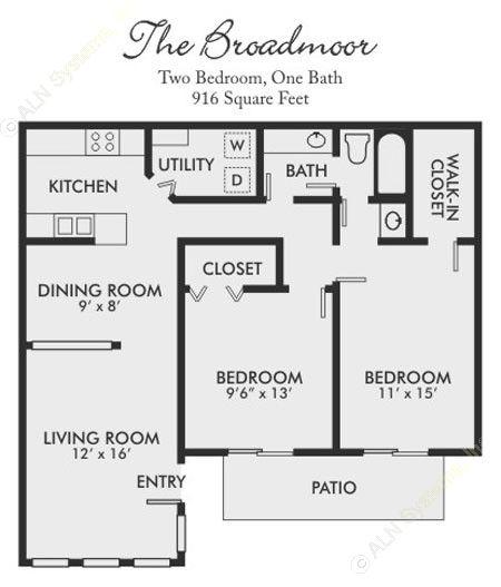 916 sq. ft. Broadmoor floor plan