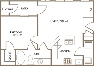 629 sq. ft. Kensington floor plan