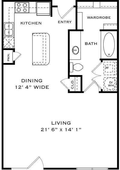 705 sq. ft. LA1 floor plan
