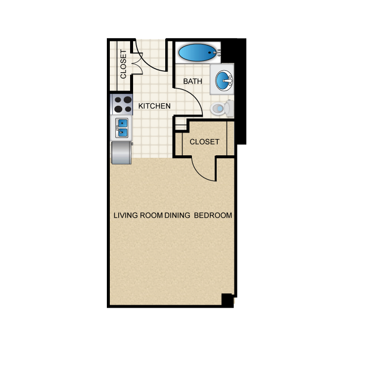 393 sq. ft. E2 floor plan