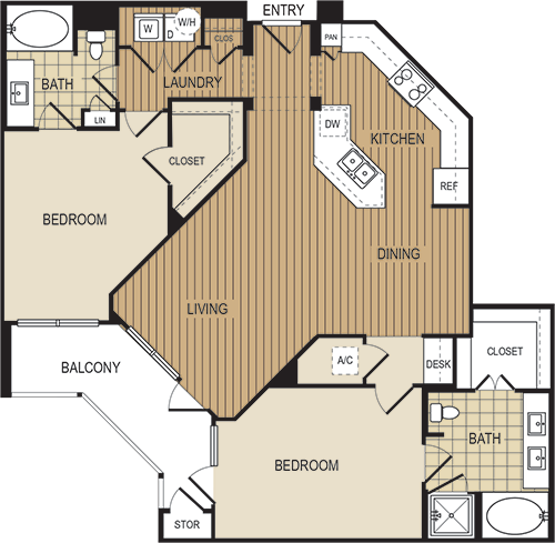 1,287 sq. ft. B5 floor plan