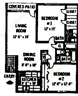 953 sq. ft. B1 floor plan