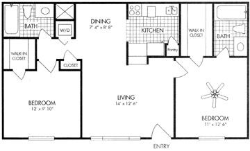 817 sq. ft. B3 floor plan
