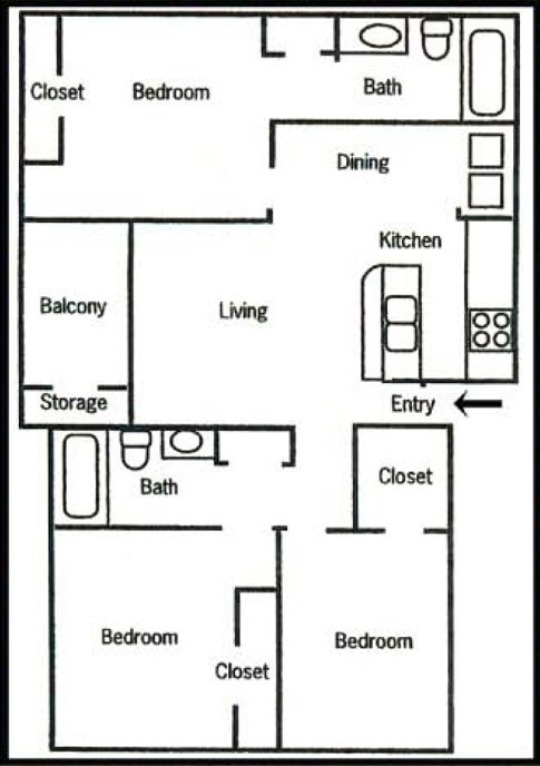 1,050 sq. ft. C1 floor plan