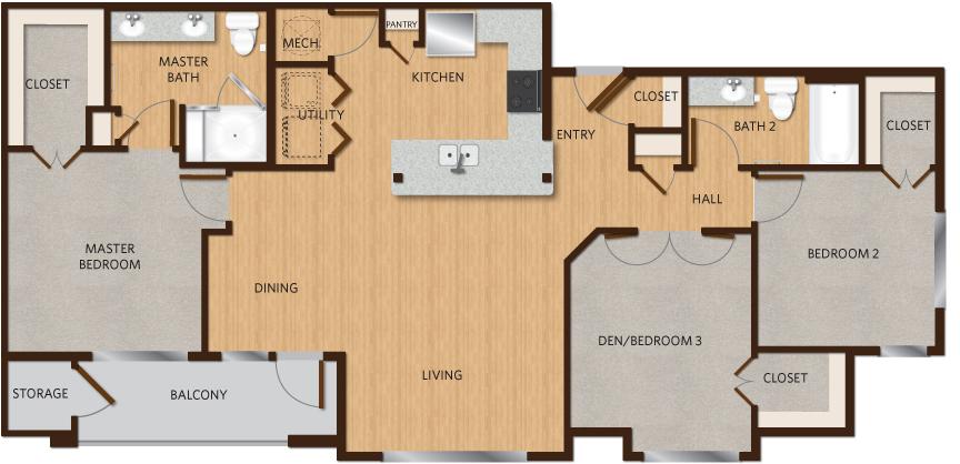 1,360 sq. ft. D1 floor plan