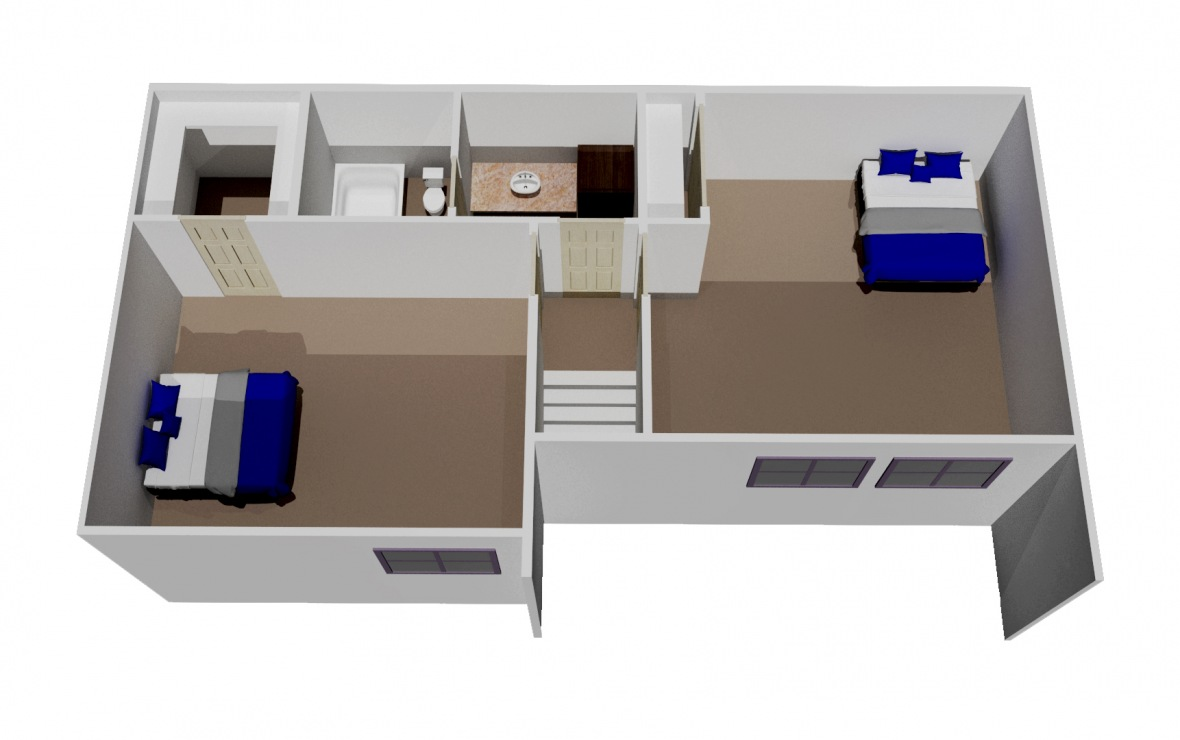 1,295 sq. ft. C2 floor plan