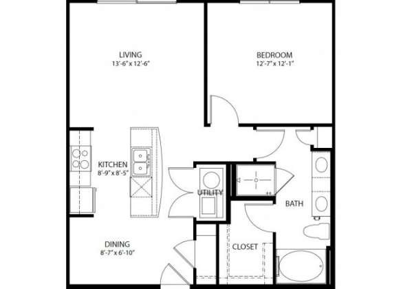 783 sq. ft. A2-E PH3 floor plan
