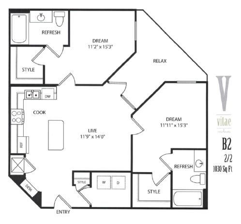 1,030 sq. ft. floor plan