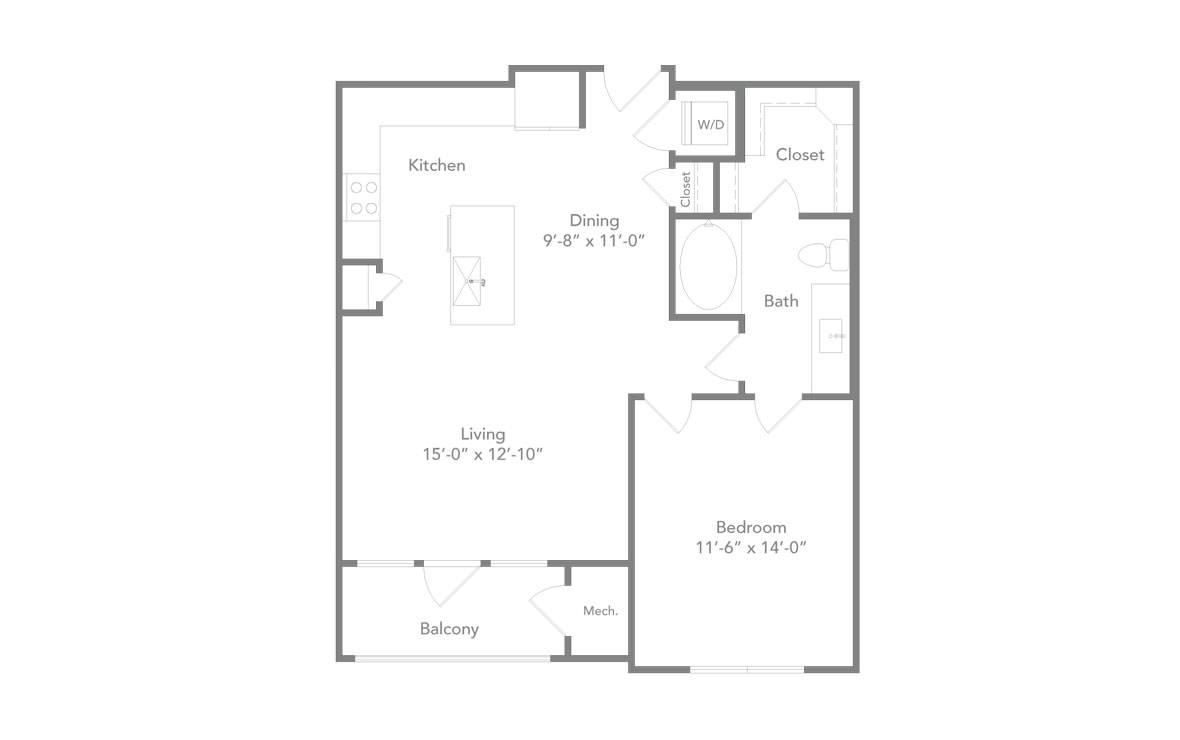 776 sq. ft. A3 floor plan