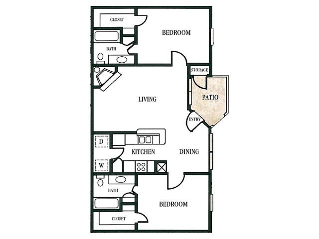 984 sq. ft. floor plan