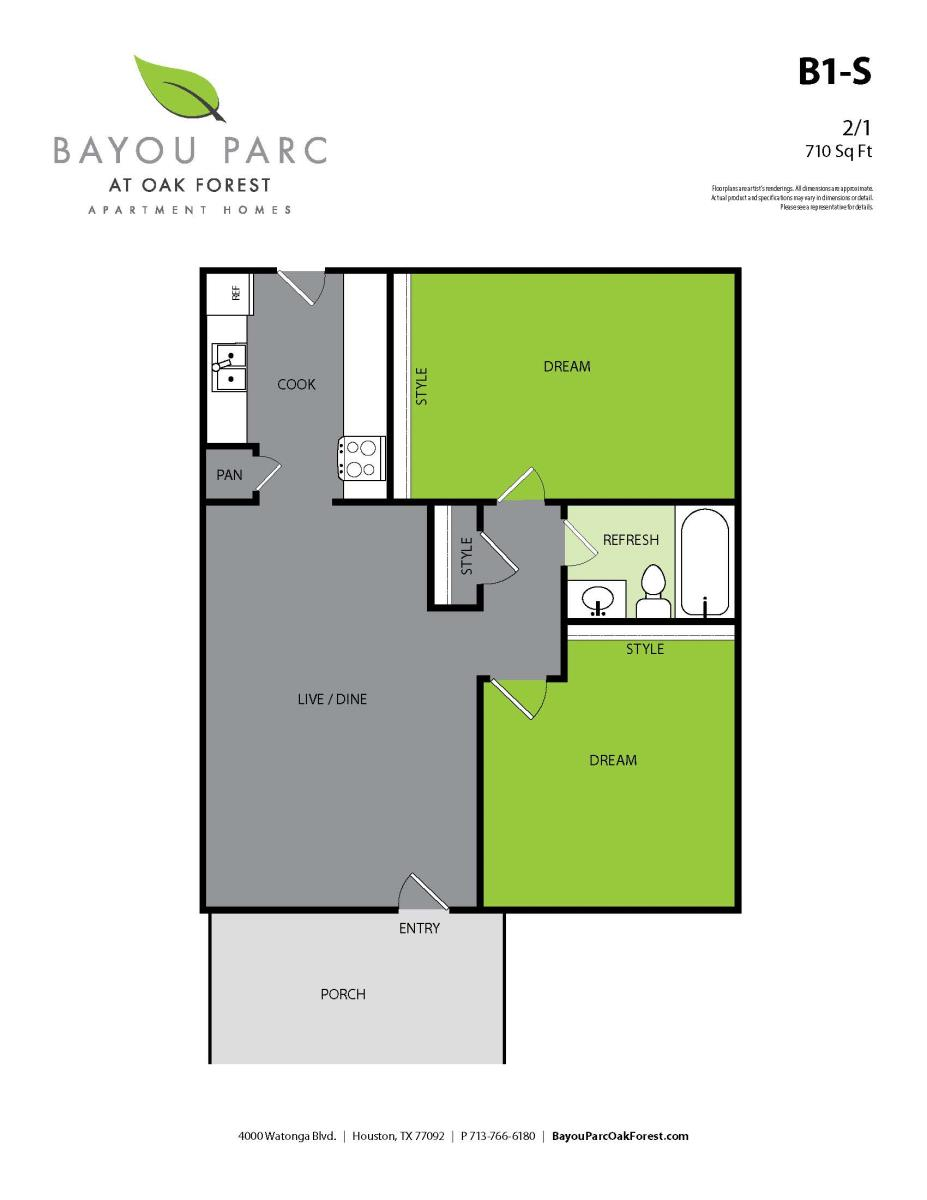 710 sq. ft. to 720 sq. ft. B1-S/B2 floor plan