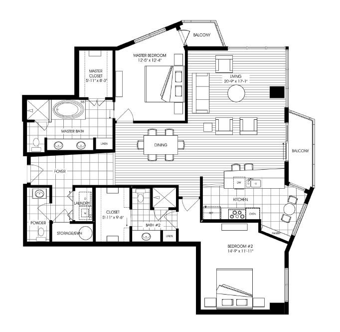 1,719 sq. ft. A13 floor plan