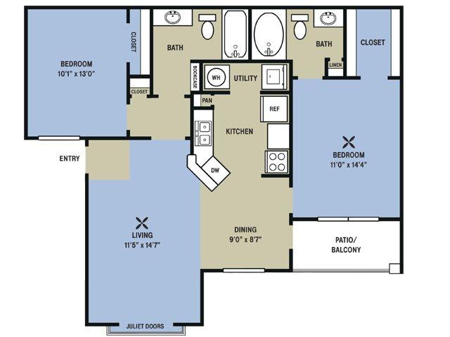966 sq. ft. Black Gold floor plan
