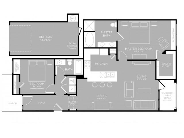 1,259 sq. ft. Terrytown B3 floor plan