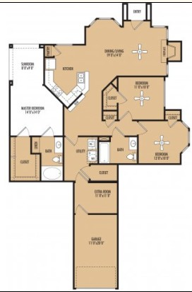 1,532 sq. ft. Ambiente c floor plan