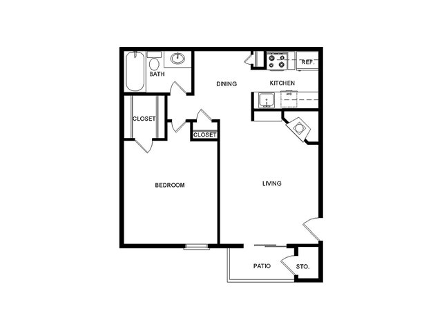 558 sq. ft. I/B floor plan