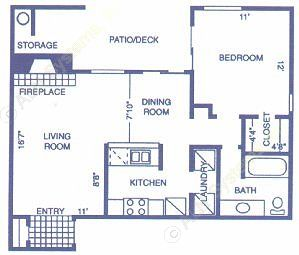 727 sq. ft. PECAN floor plan