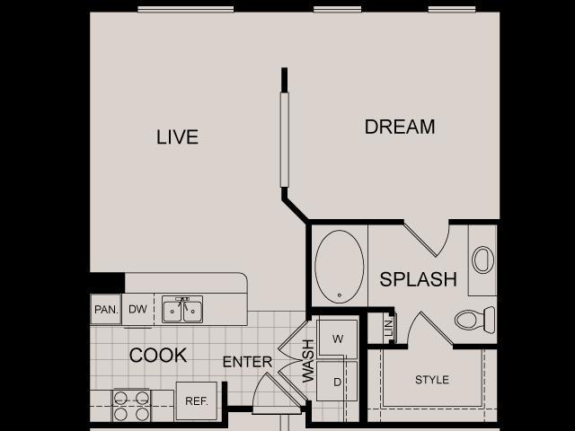 671 sq. ft. Archstone floor plan