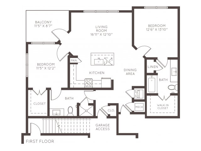 1,084 sq. ft. B1AG floor plan