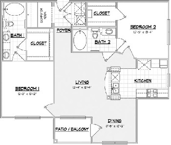 1,151 sq. ft. CABIN floor plan
