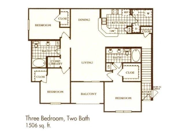 1,506 sq. ft. C3 floor plan