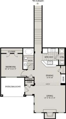 923 sq. ft. A7 floor plan