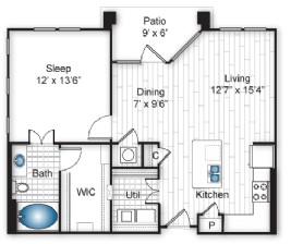 774 sq. ft. A2 floor plan