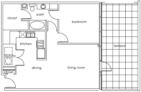 843 sq. ft. 1407 C floor plan