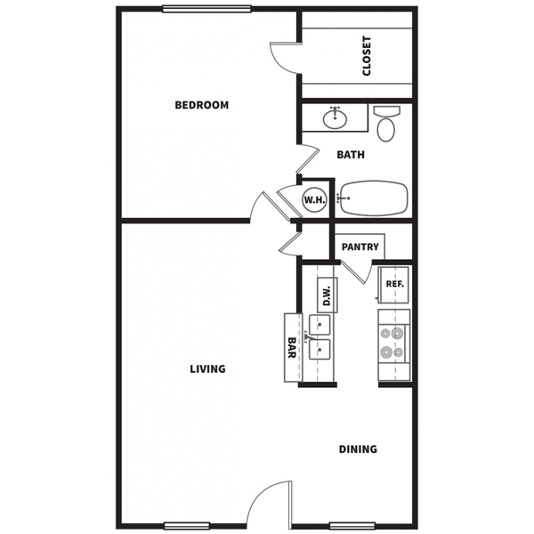 698 sq. ft. B floor plan