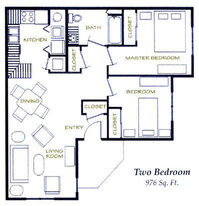 976 sq. ft. 60% floor plan