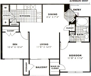 823 sq. ft. to 905 sq. ft. Stemmons floor plan