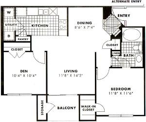 823 sq. ft. to 905 sq. ft. Stemmons floor plan