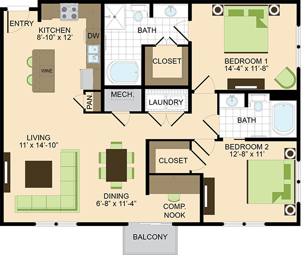 1,266 sq. ft. B1 floor plan