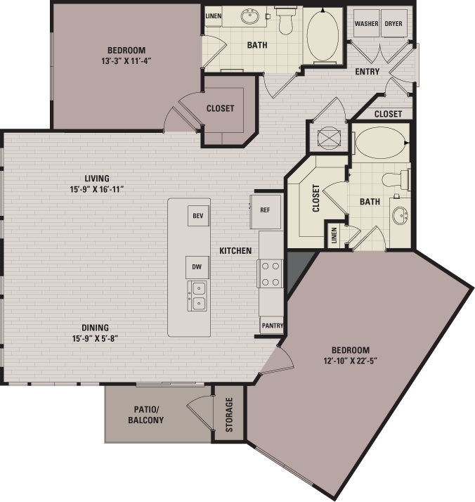 1,195 sq. ft. C3alt floor plan