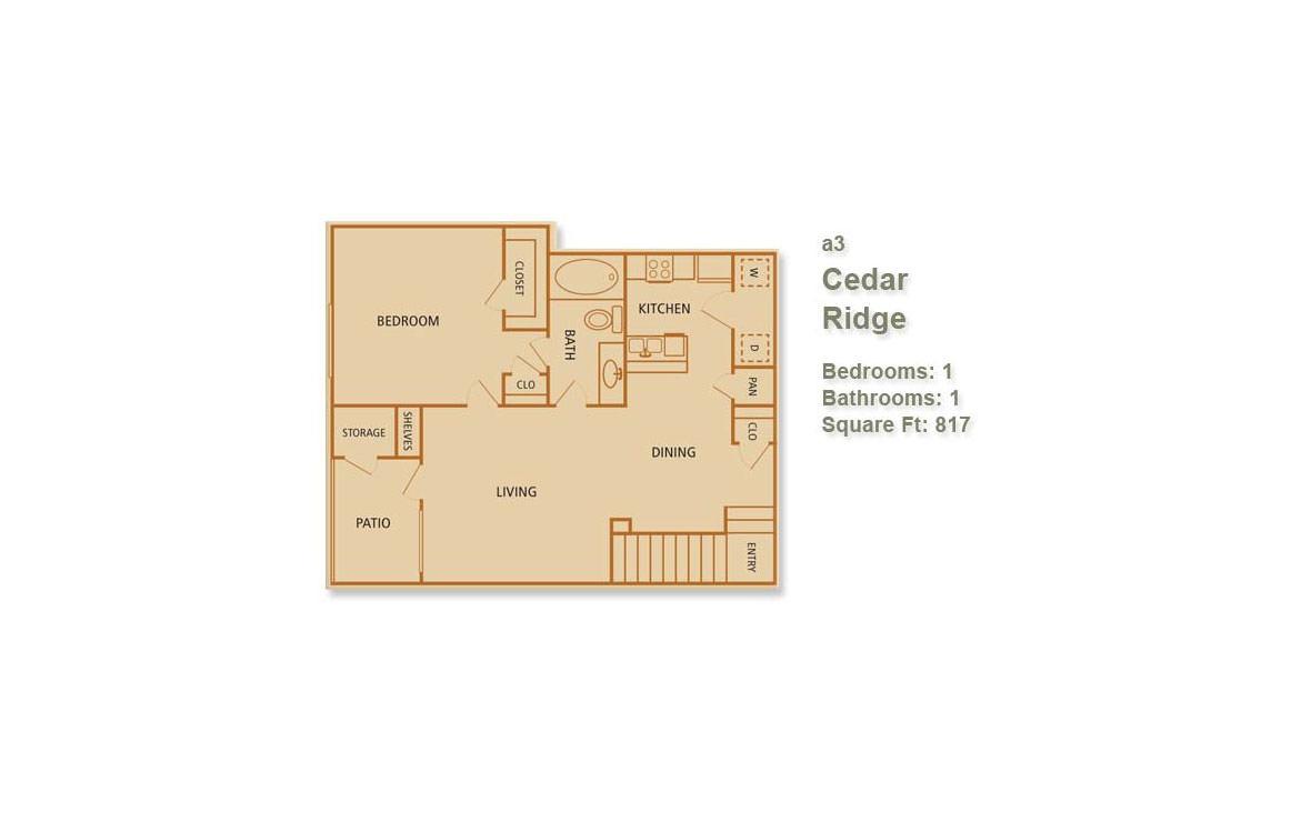 817 sq. ft. Cedar Ridge floor plan