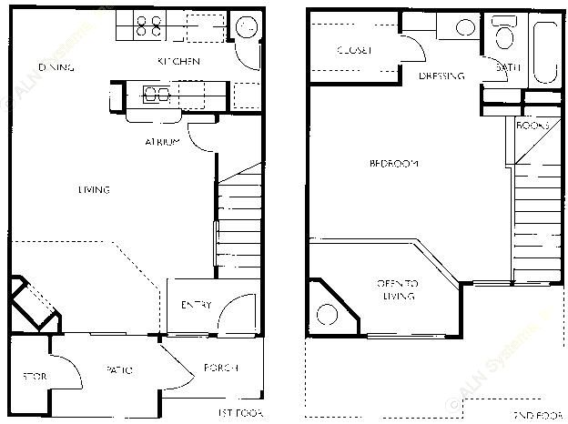 800 sq. ft. A2-TH floor plan
