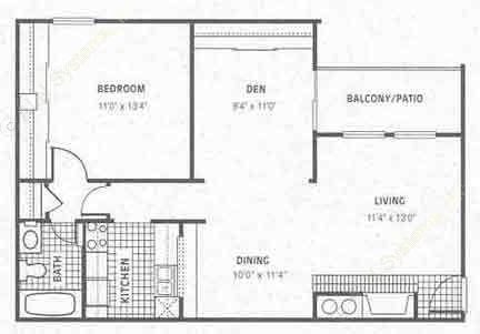 806 sq. ft. A5 floor plan