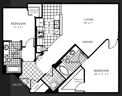1,114 sq. ft. B7 floor plan