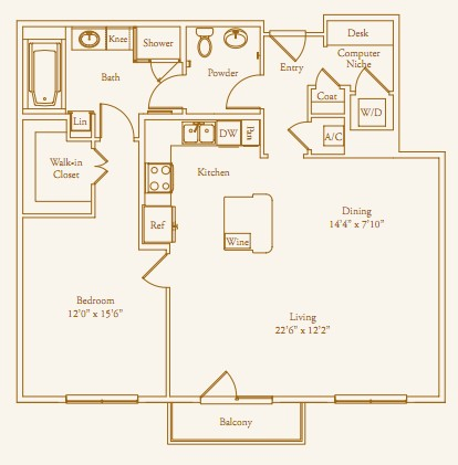 1,086 sq. ft. Chilton Alt floor plan
