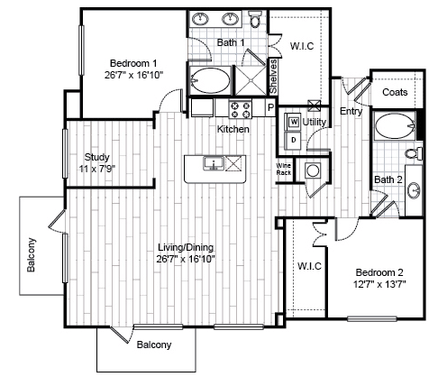 1,622 sq. ft. B5.1 floor plan