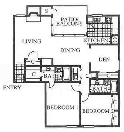 1,244 sq. ft. C1 floor plan