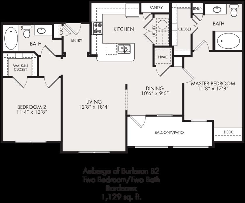 1,129 sq. ft. floor plan