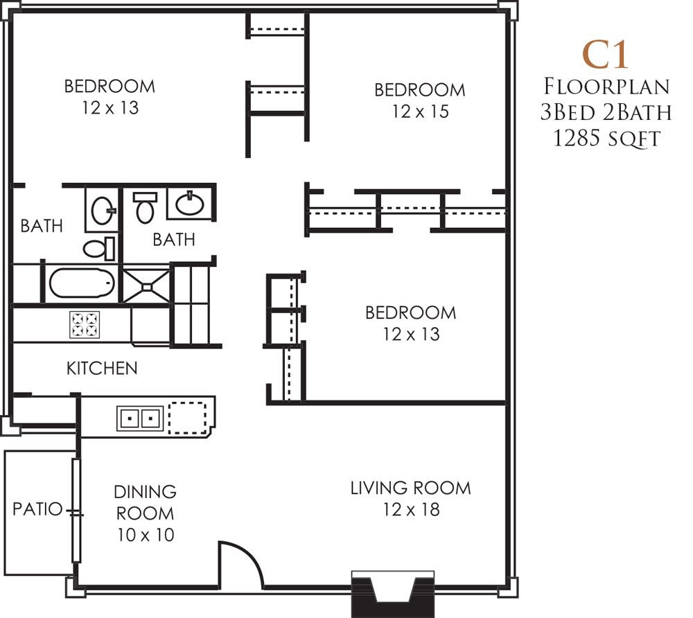 1,285 sq. ft. C1 floor plan
