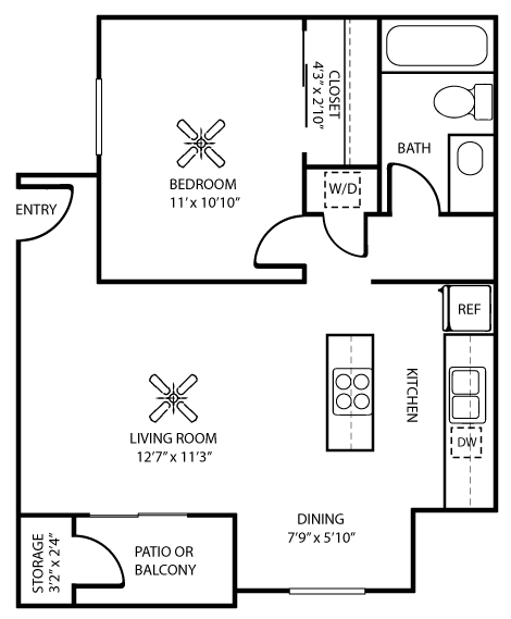 585 sq. ft. A & A1 floor plan