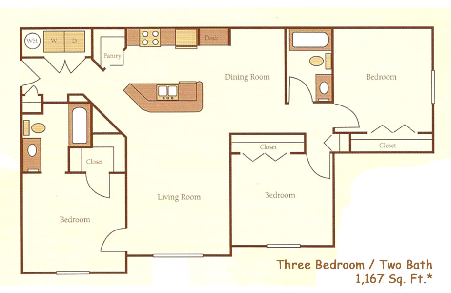1,167 sq. ft. 60% floor plan