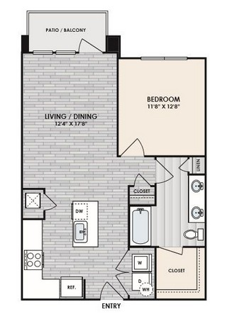 756 sq. ft. to 813 sq. ft. A3 floor plan