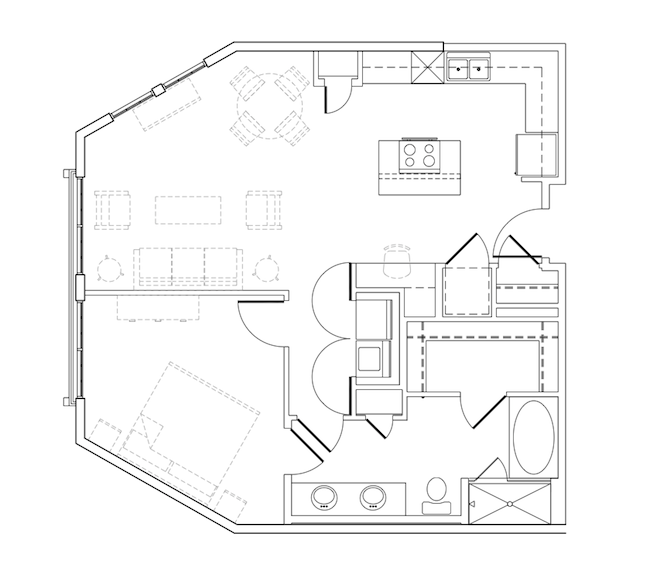 900 sq. ft. Sweetan floor plan