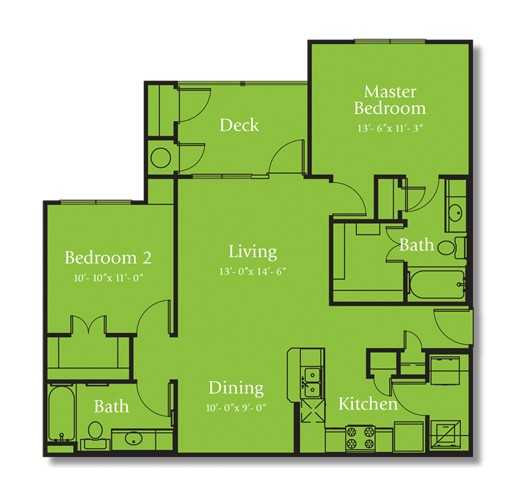 1,043 sq. ft. TRINITY/60 floor plan