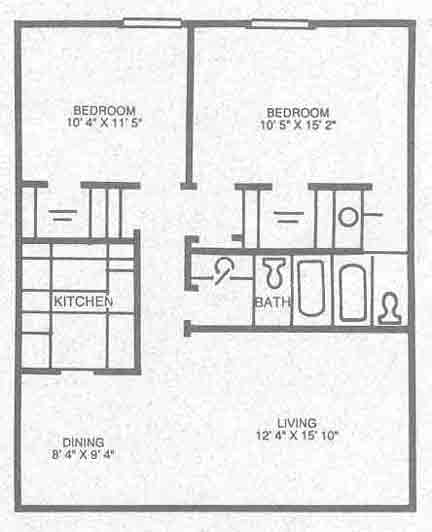 968 sq. ft. B-2 floor plan